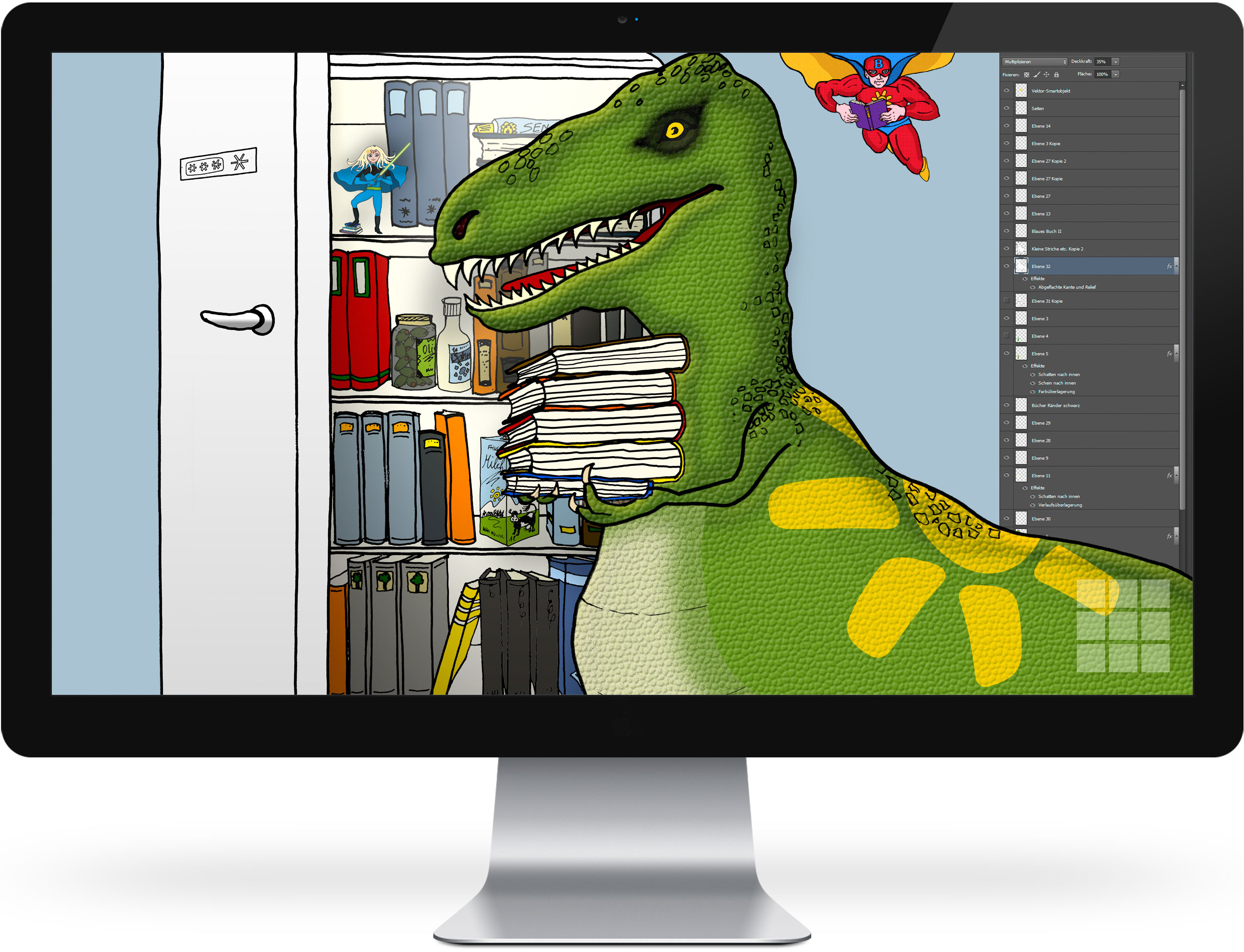 Bücherheld Lesesaurus Tex – Finish und Integration mit Hintergrund
