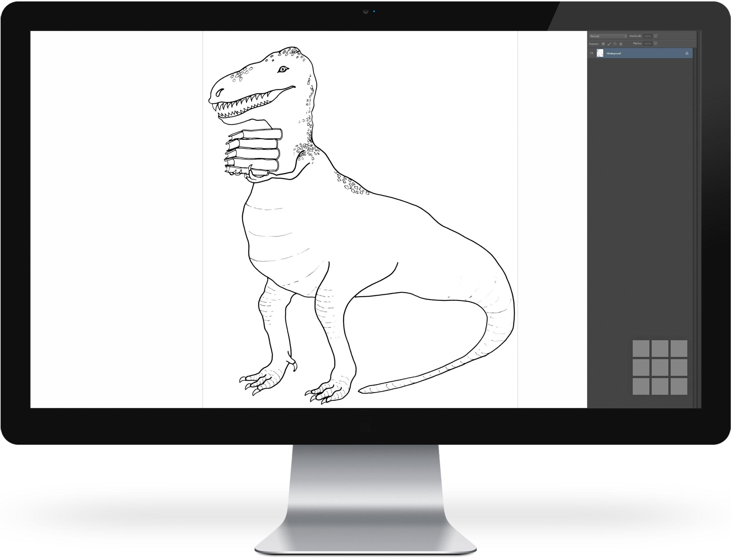 Bücherheld Lesesaurus Tex – Schwarz-Weiss-Zeichnung