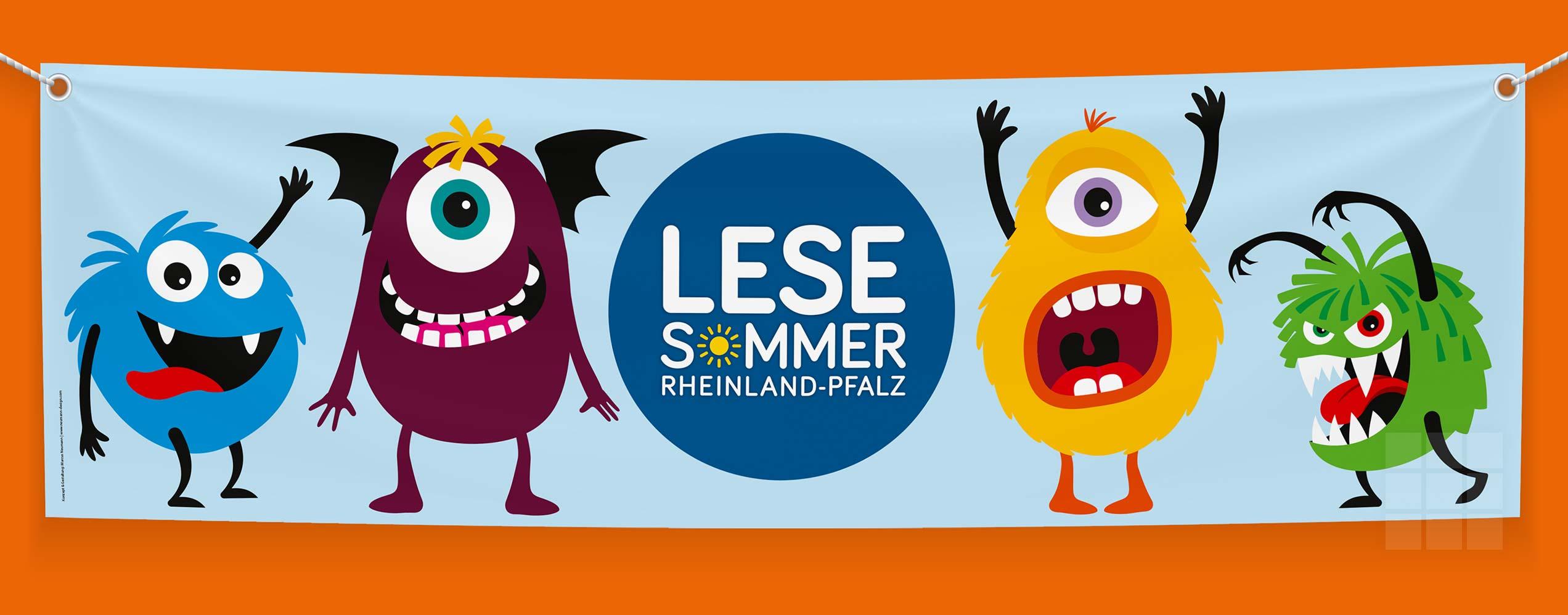 Banner für den LESESOMMER Rheinland-Pfalz inkl. Logo und vier Monstern