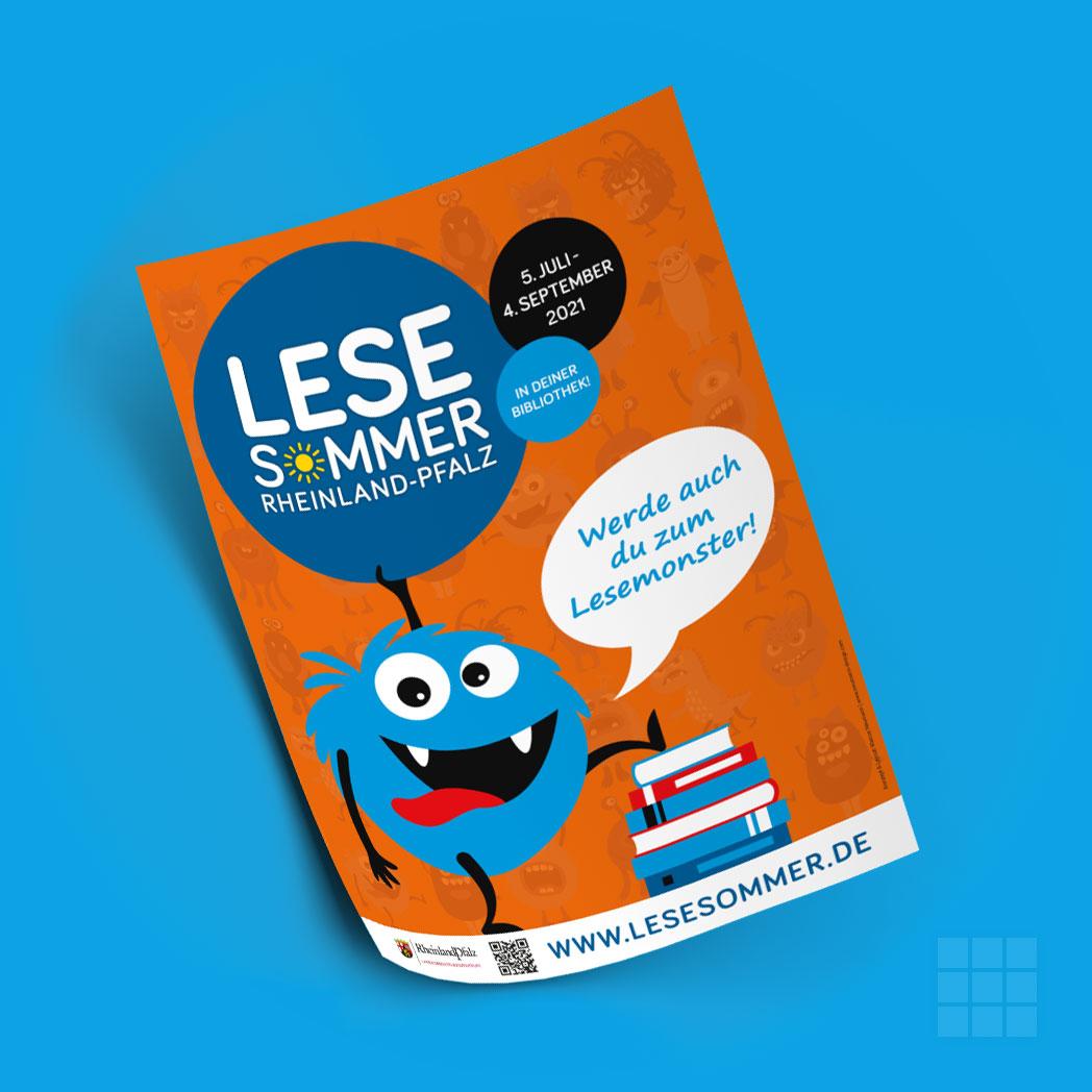 Kleines Plakat mit dem Leit-Monster für den LESESOMMER Rheinland-Pfalz 2021