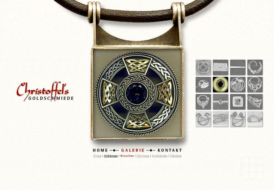 Webseiten erstellen für Goldschmiede - Galerie-Seite mit Broschen.