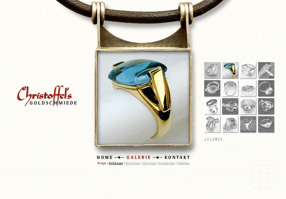 Webseiten erstellen für Goldschmiede - Galerie-Seite mit Ringen.
