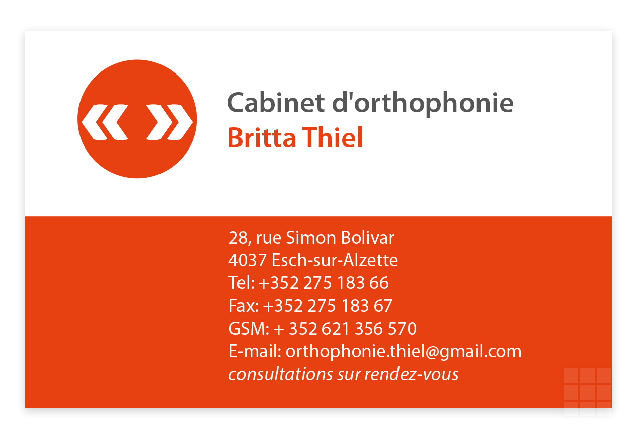 Visitenkarte Cabinet d'orthophonie Britta Thiel