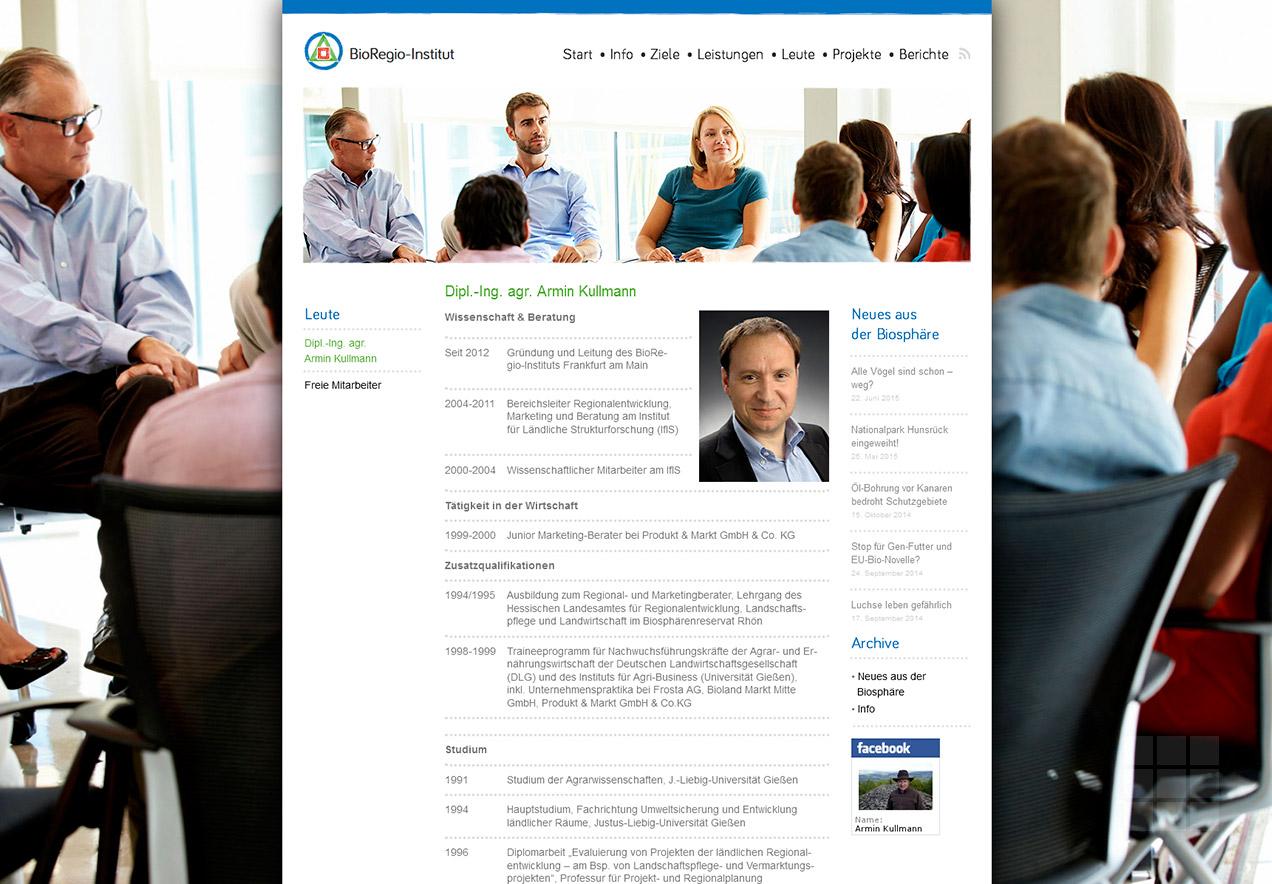 Homepage Gestaltung Forschungsinstitut - Leute