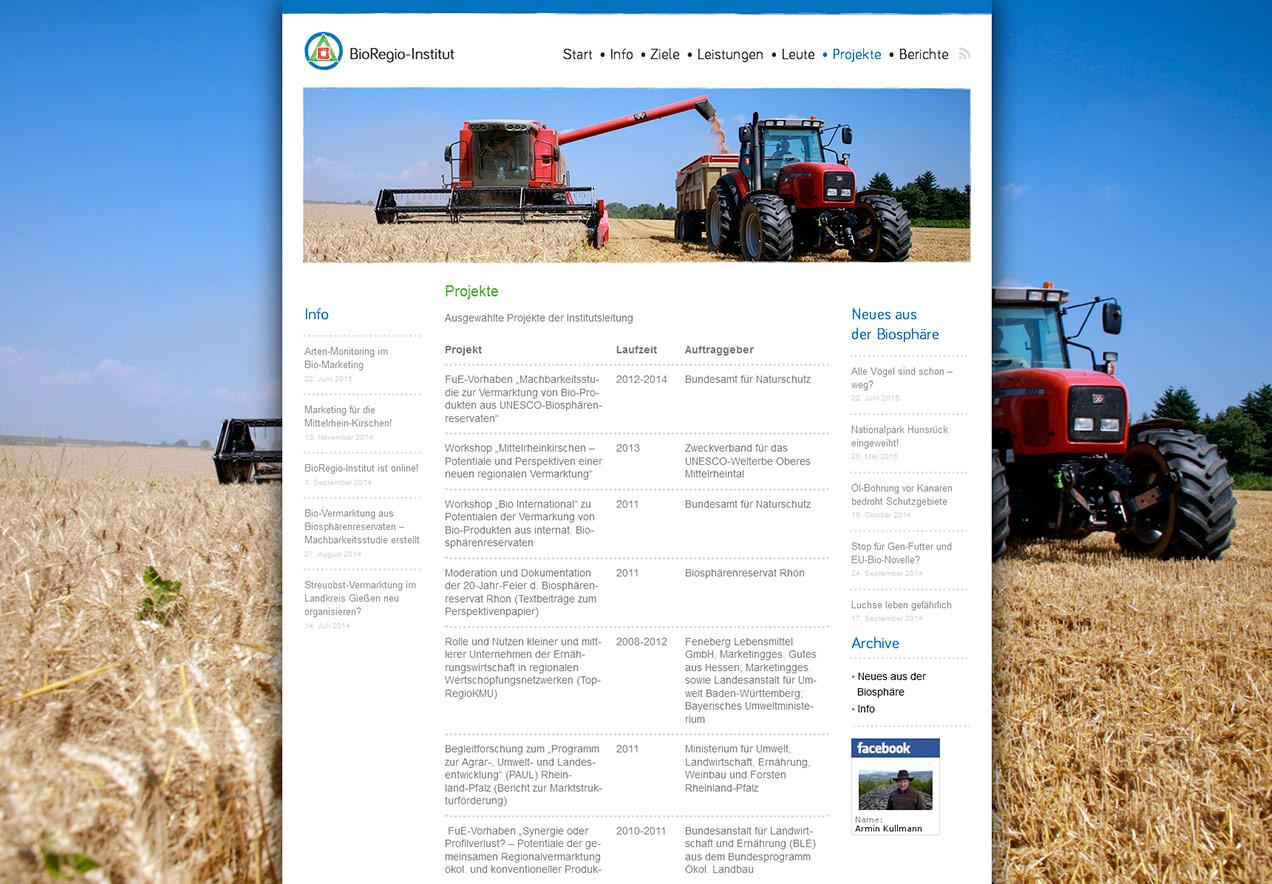 Homepage Gestaltung Forschungsinstitut - Projektübersicht