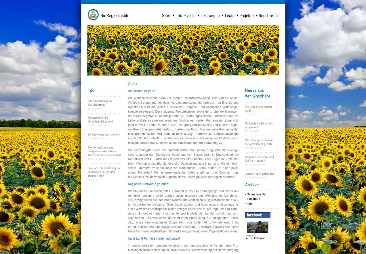 Homepage Gestaltung Forschungsinstitut - Ziele