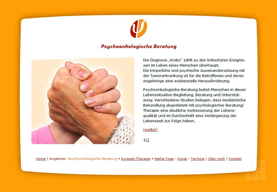 Internetpräsenz Psychologische Praxis - Psychoonkologische Beratung