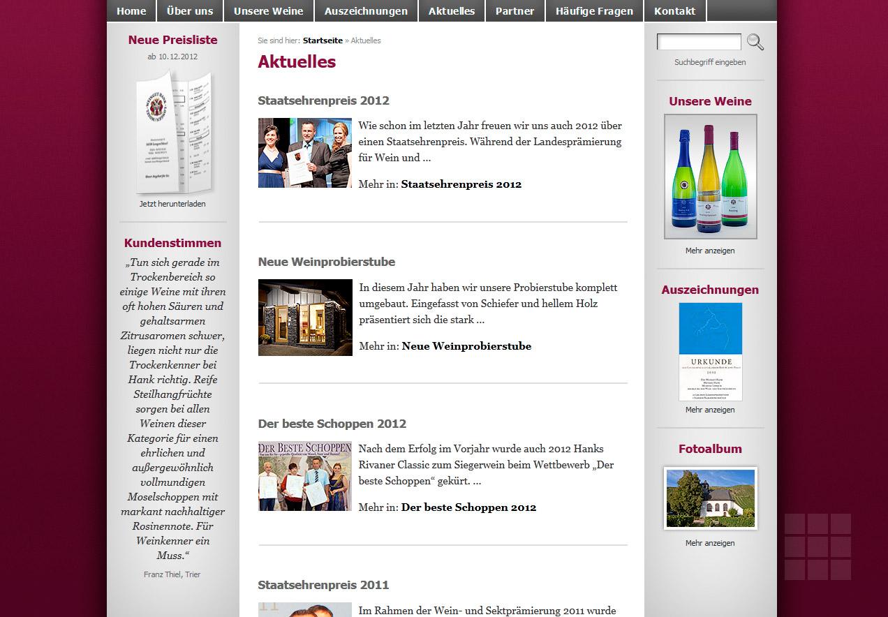 Internetseite erstellen für das Weingut Hank - Rubrik Aktuelles