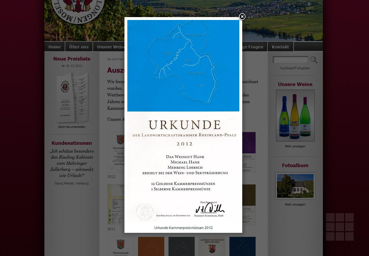 Internetseite erstellen für das Weingut Hank - Lightbox mit Urkunde