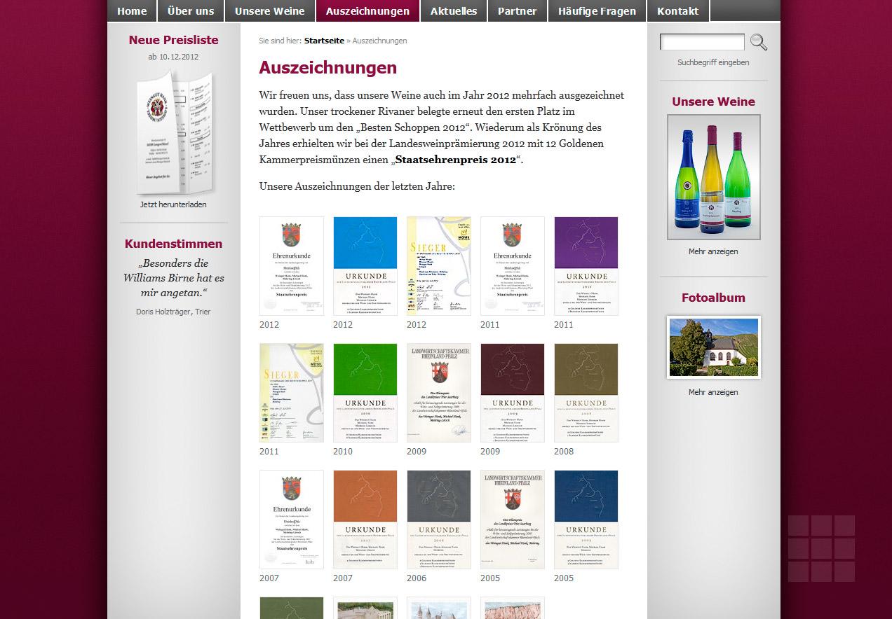 Internetseite erstellen für das Weingut Hank - Urkunden-Galerie