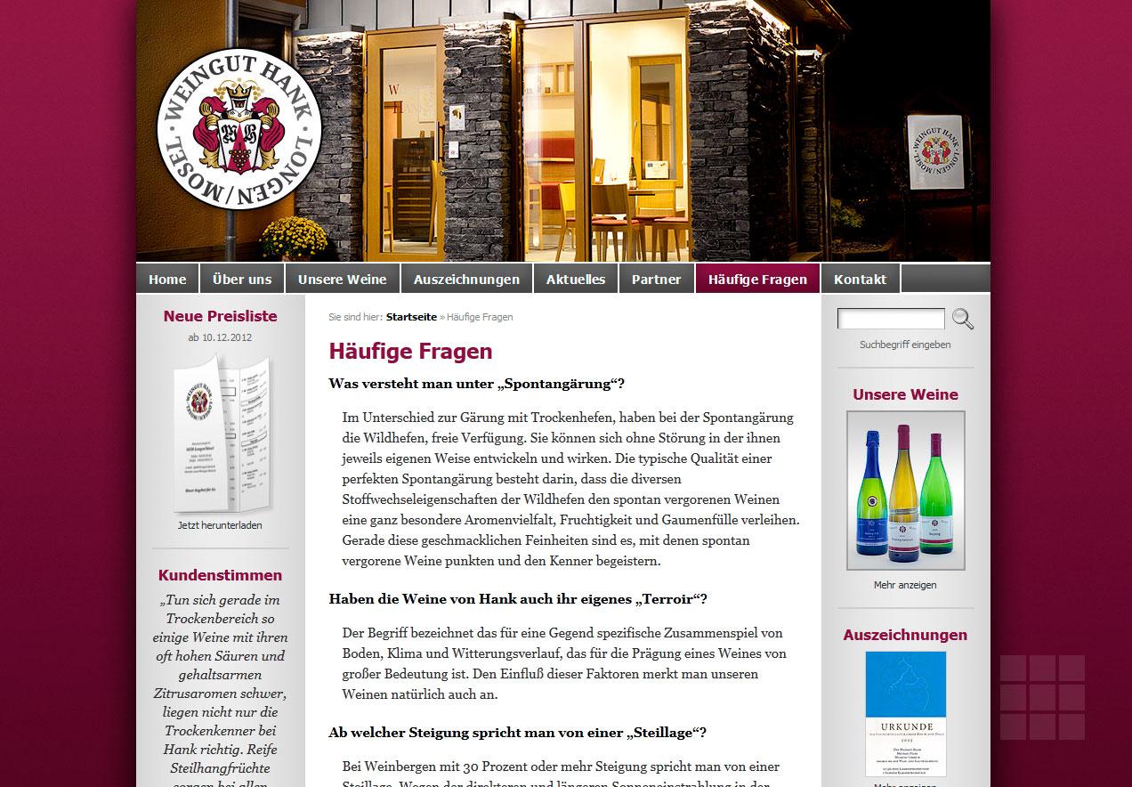 Internetseite erstellen das für Weingut Hank - FAQ