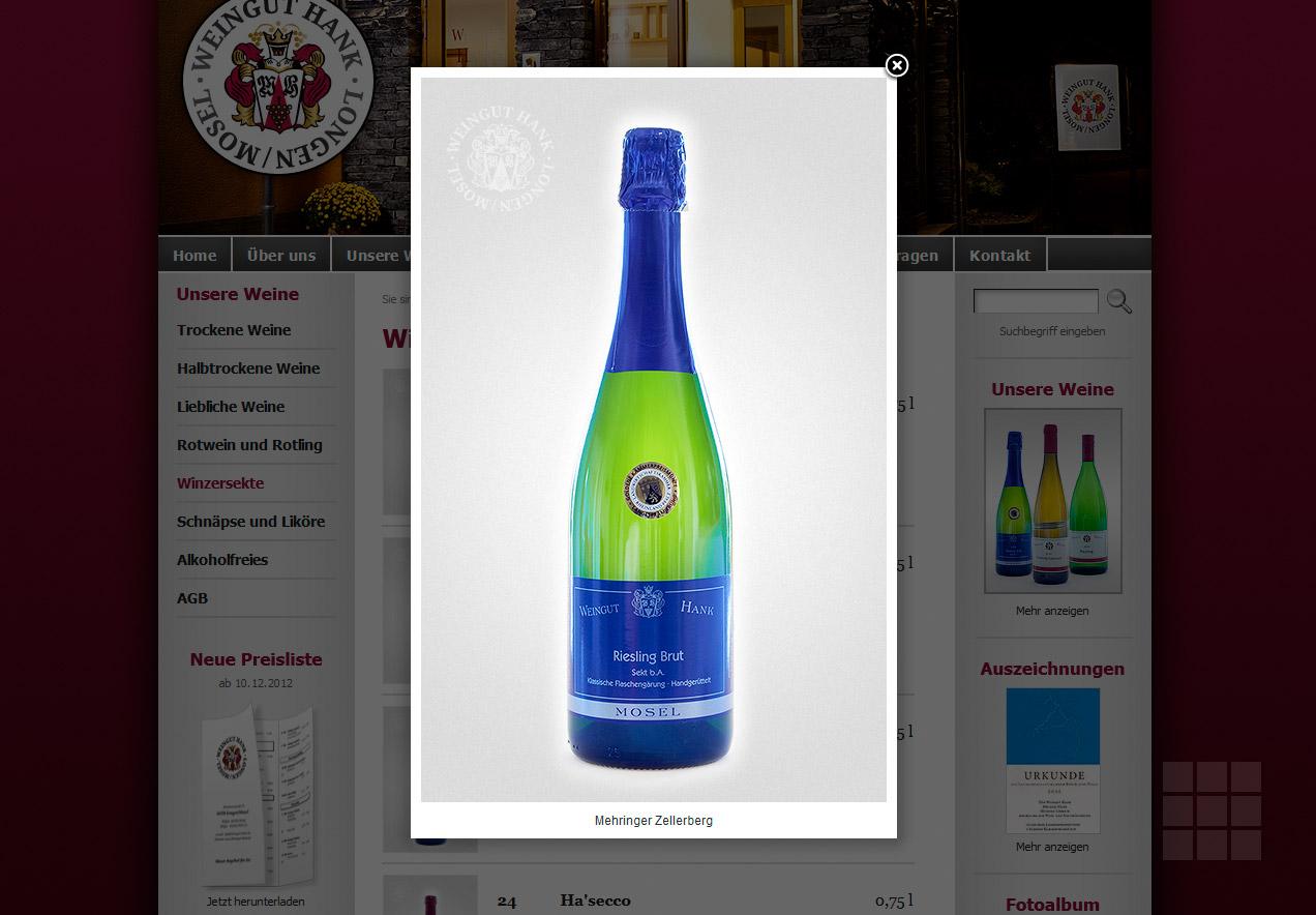 Internetseite erstellen für das Weingut Hank - Lightbox mit Produkfoto