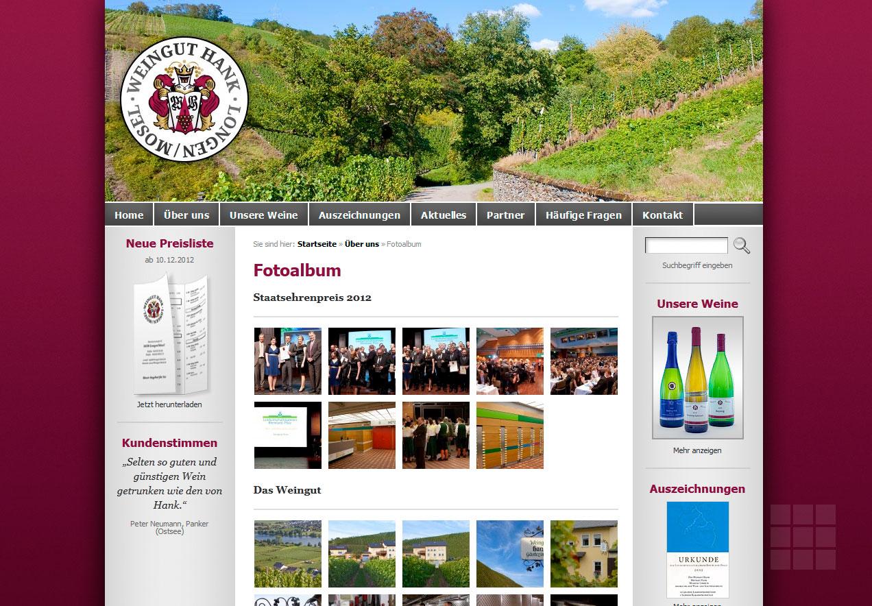 Internetseite erstellen für das Weingut Hank - Fotogalerie