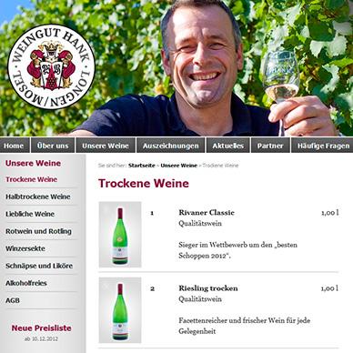 Internetseite erstellen für ein Weingut