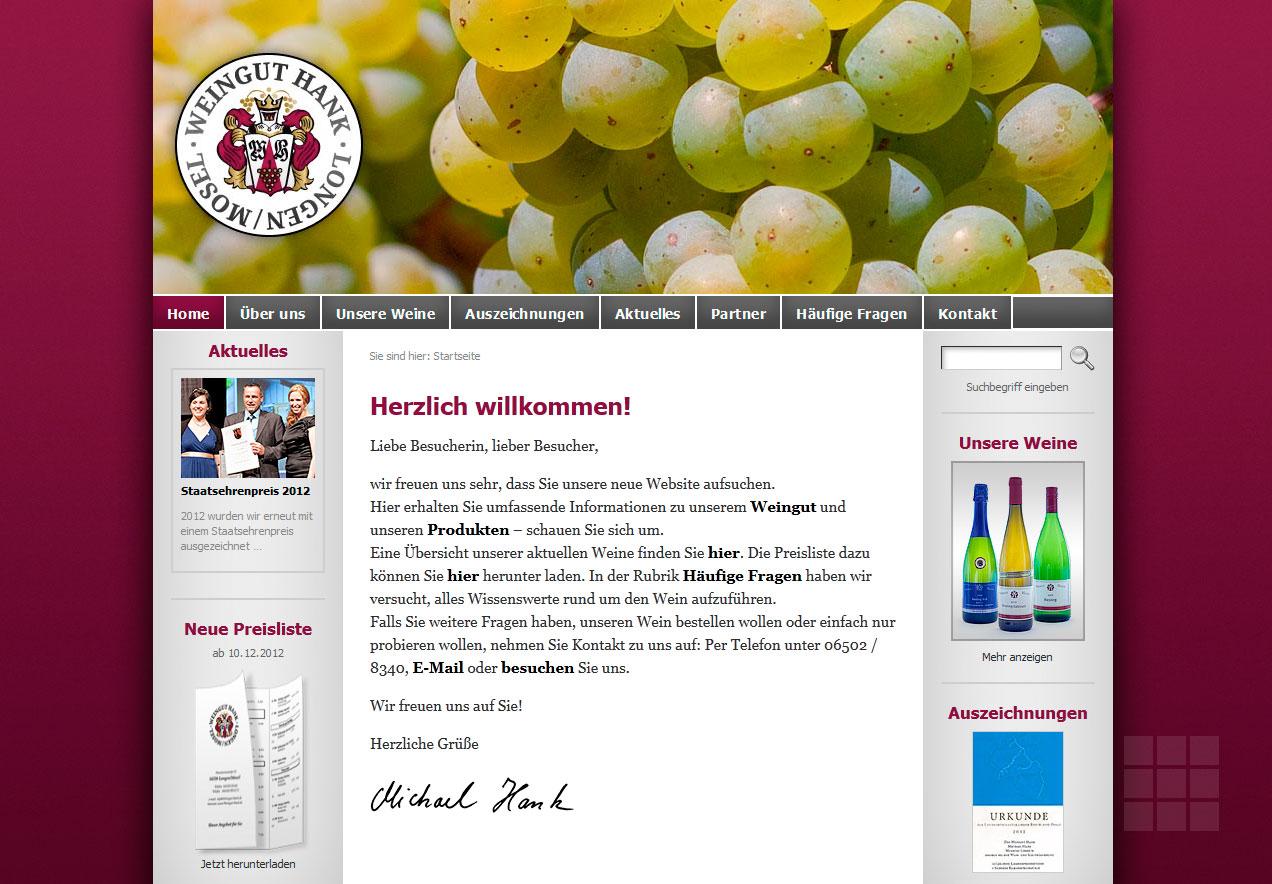 Internetseite erstellen für das Weingut Hank - Startseite