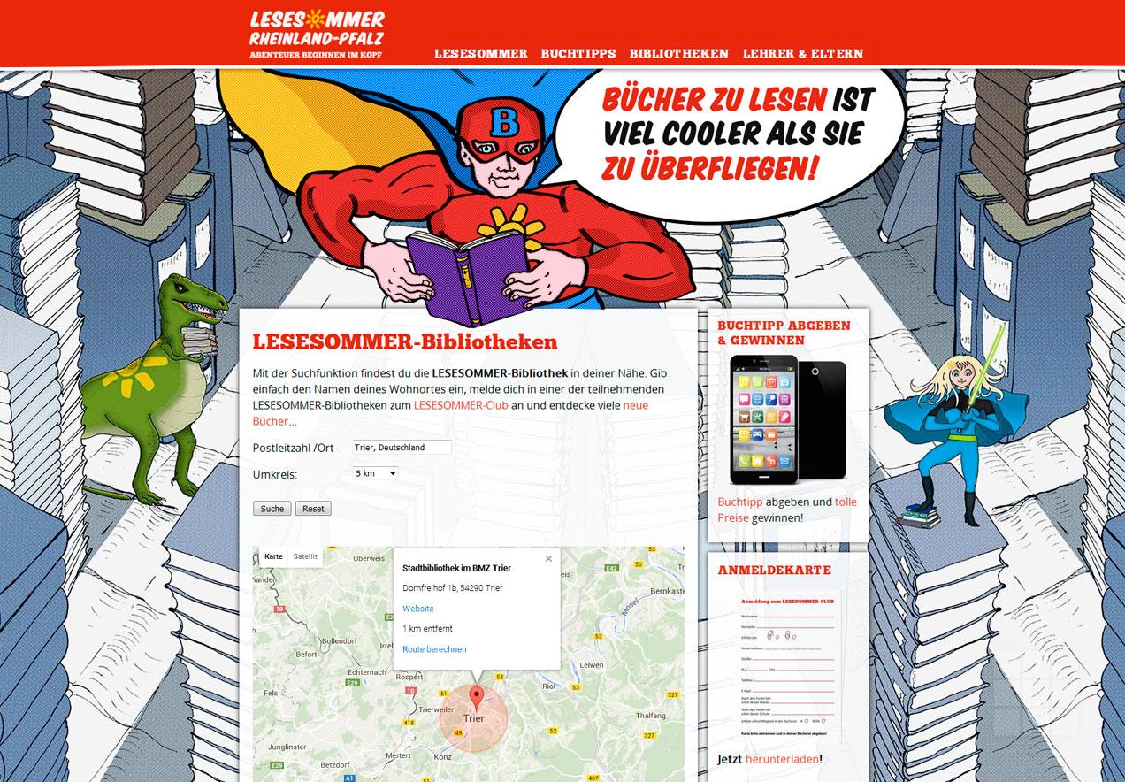 Web Design Lesesommer Rheinland-Pfalz – Bibliothekssuche