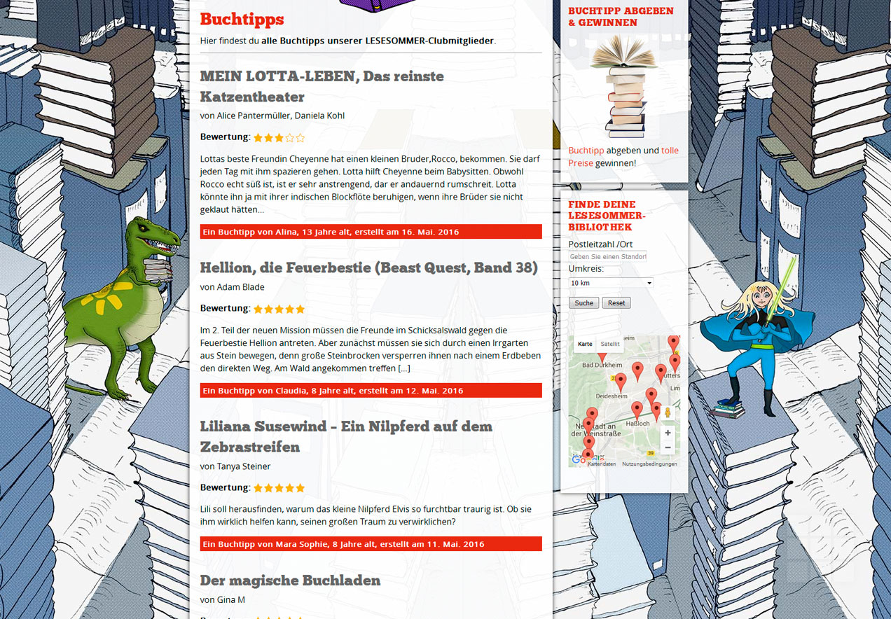 Web Design Lesesommer Rheinland-Pfalz – Buchtipps