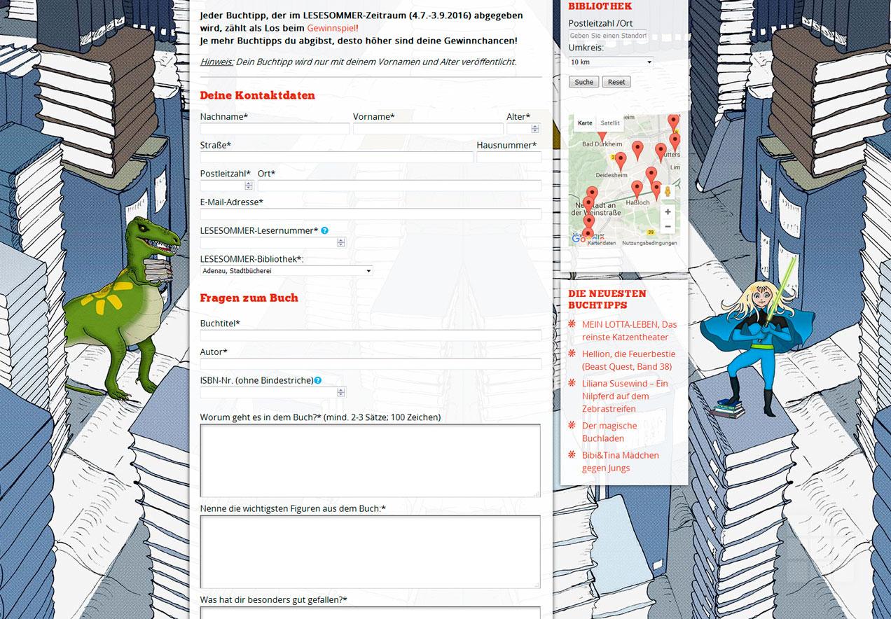 Web Design Lesesommer Rheinland-Pfalz – Buchtipp-Formularkopf