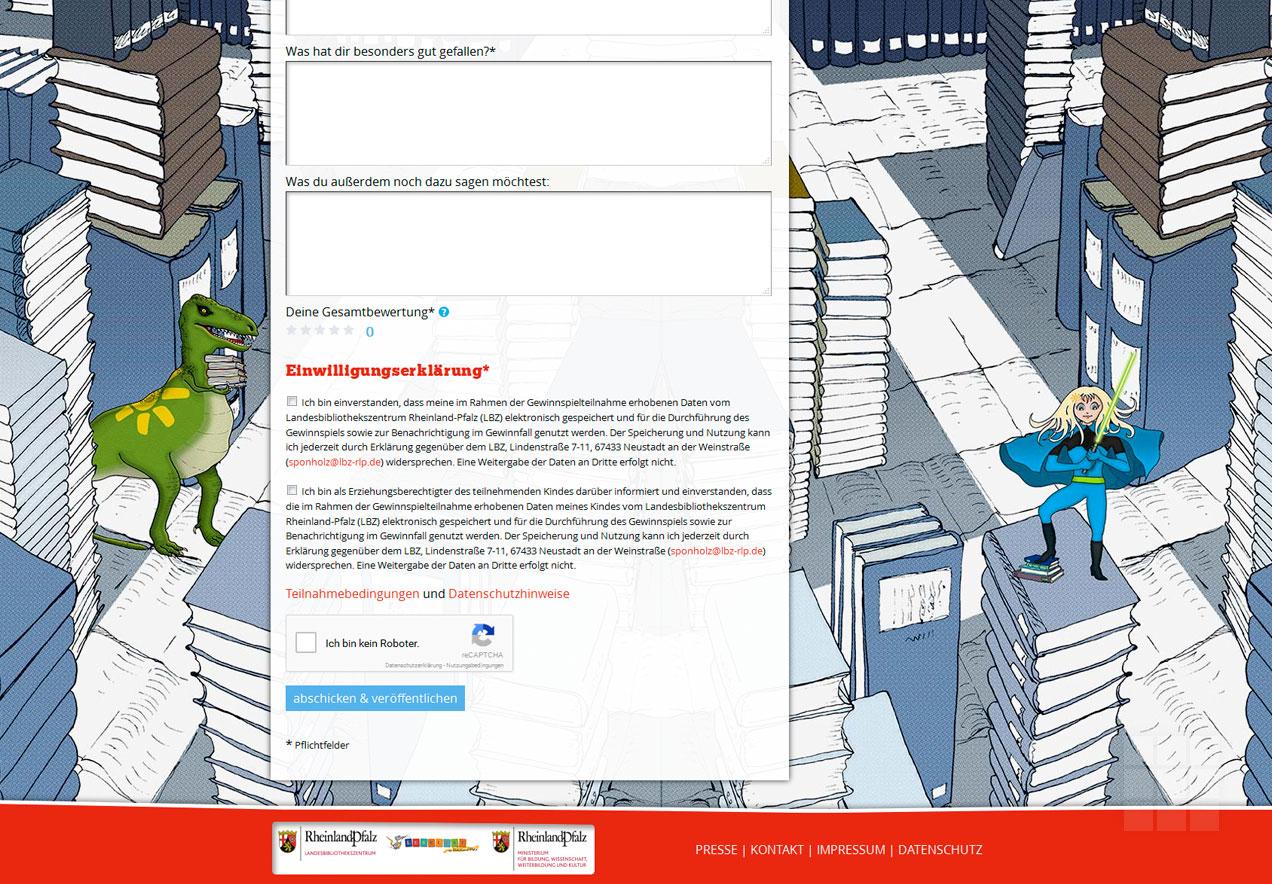 Web Design Lesesommer Rheinland-Pfalz – Buchtipp-Formularfuß
