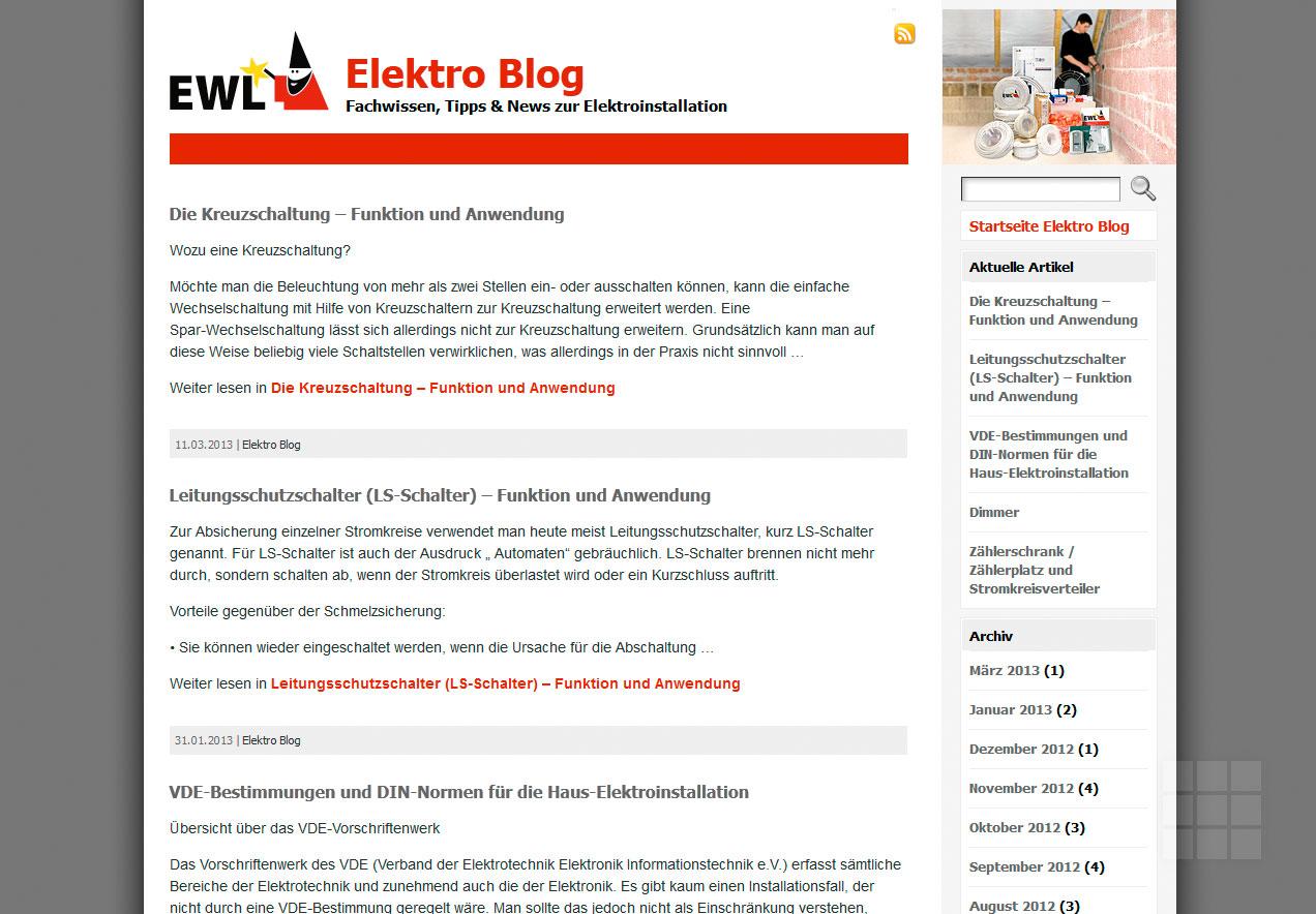 Webseite erstellen für Elektro-Hersteller - Blog