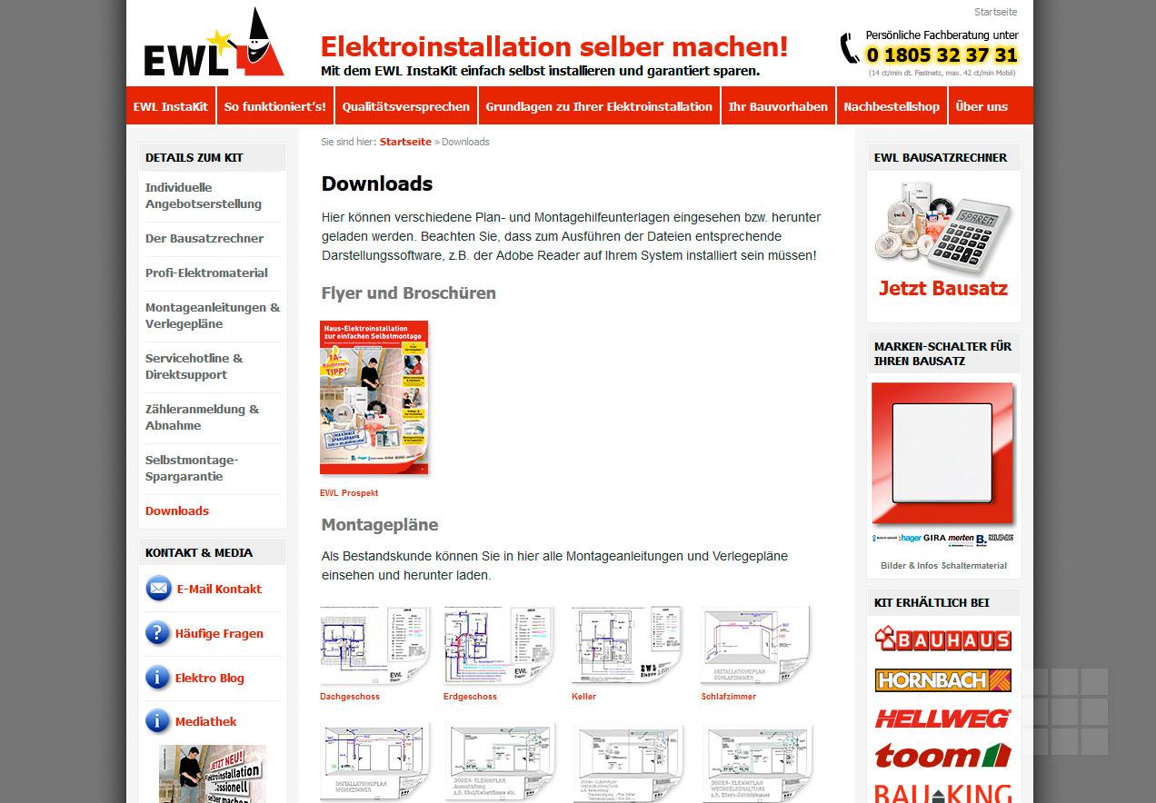 Webseite erstellen für Elektro-Hersteller - Downloads
