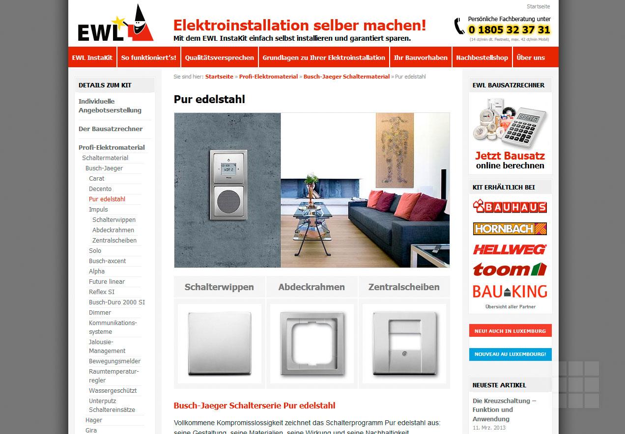 Webseite erstellen für Elektro-Hersteller - Produktseite II