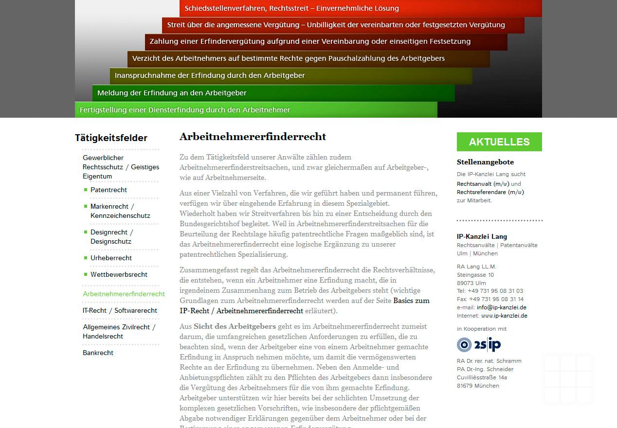 Website Design IP-Kanzlei Lang - Seite Arbeitnehmererfinderrecht