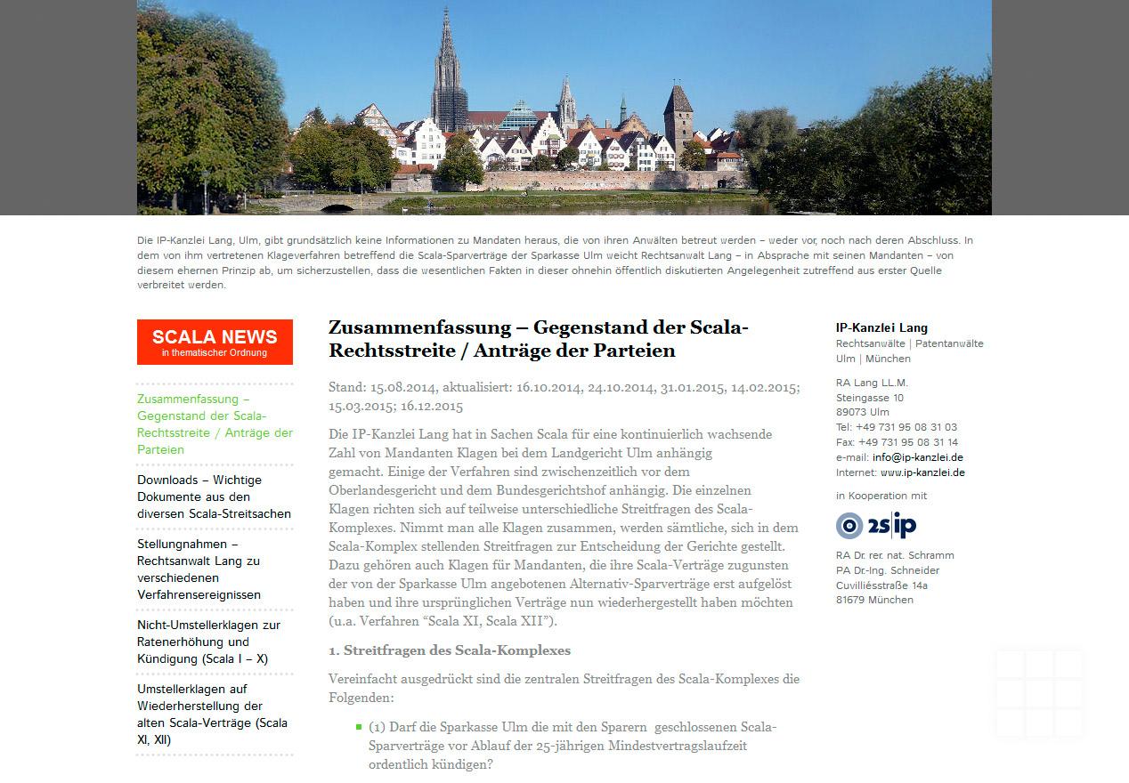 Website Design IP-Kanzlei Lang - Startseite