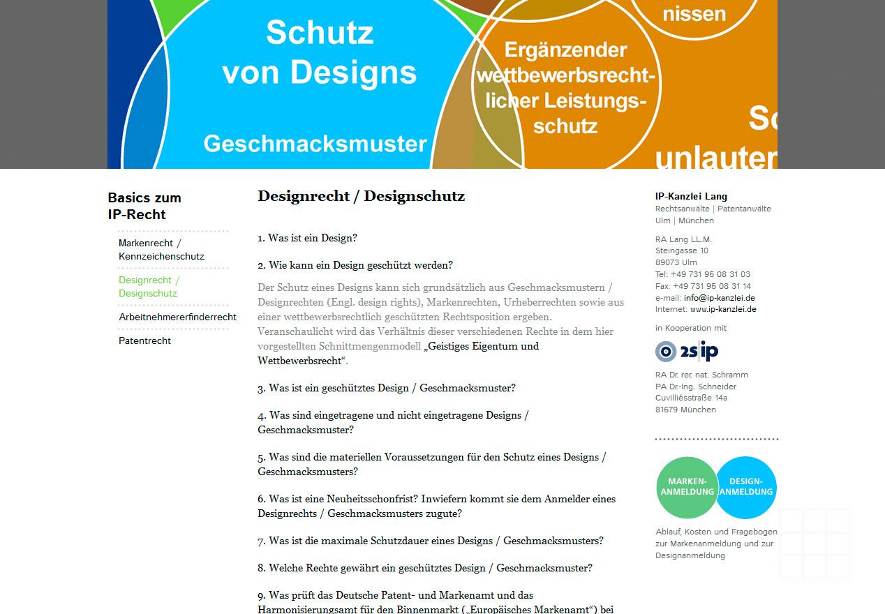 Website Design IP-Kanzlei Lang - FAQ Designrecht/Designschutz