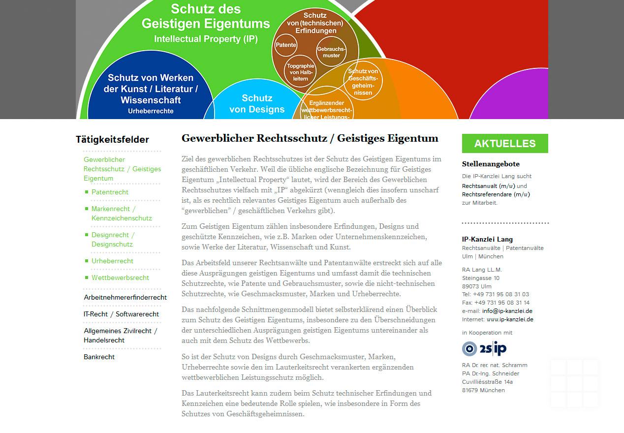 Website Design IP-Kanzlei Lang - Seite Gewerblicher Rechtsschutz