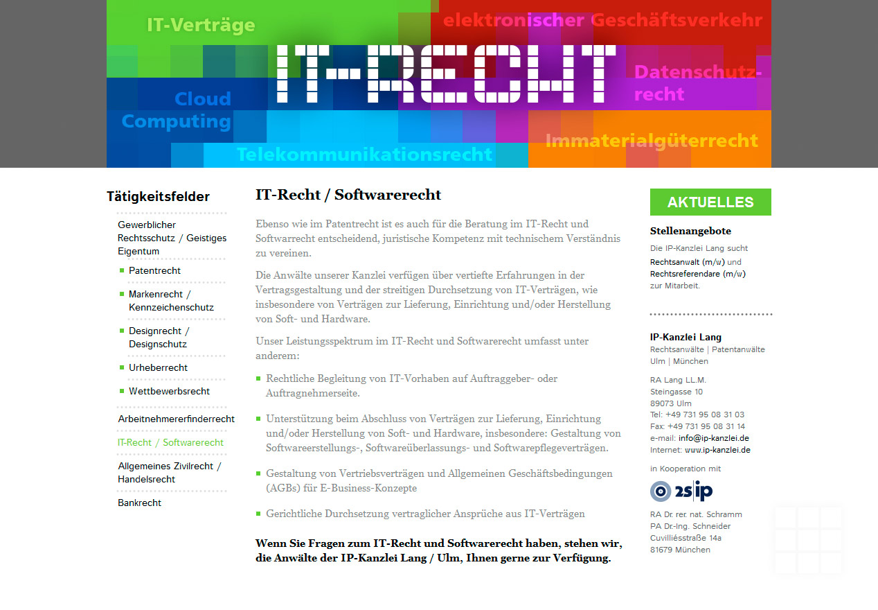 Website Design IP-Kanzlei Lang - Seite IT-Recht