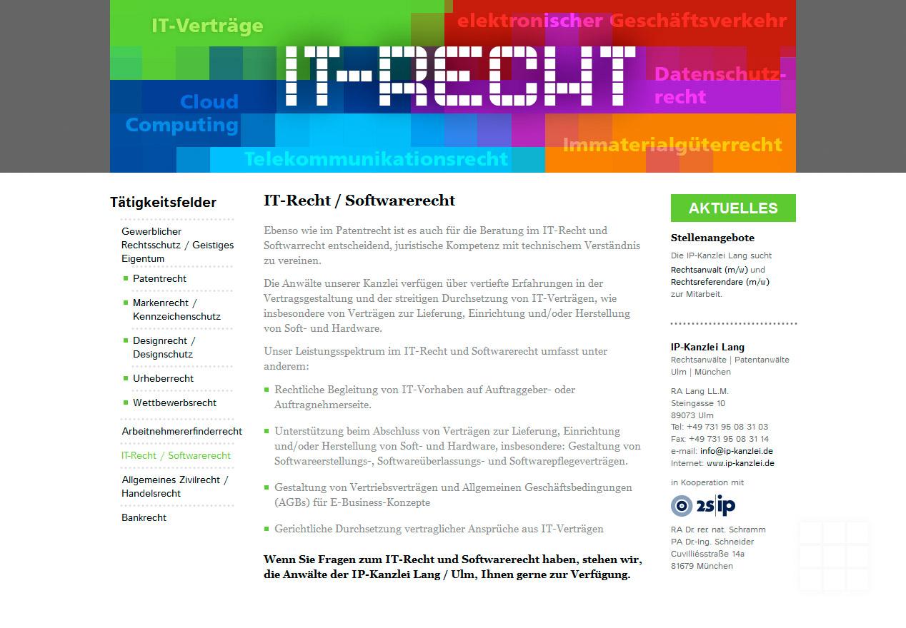 Website Design IP-Kanzlei Lang - Seite IT-Recht