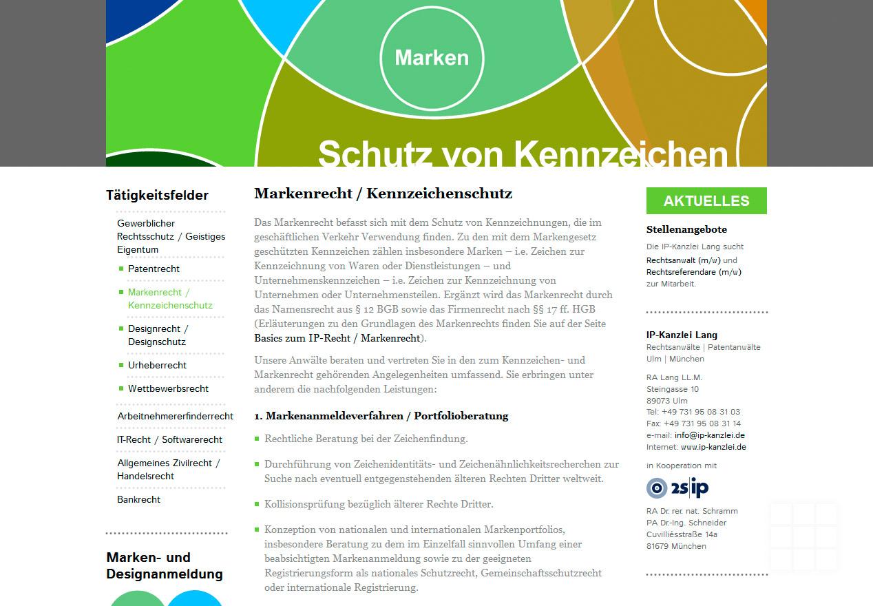 Website Design IP-Kanzlei Lang - Seite Markenrecht / Kennzeichenschutz