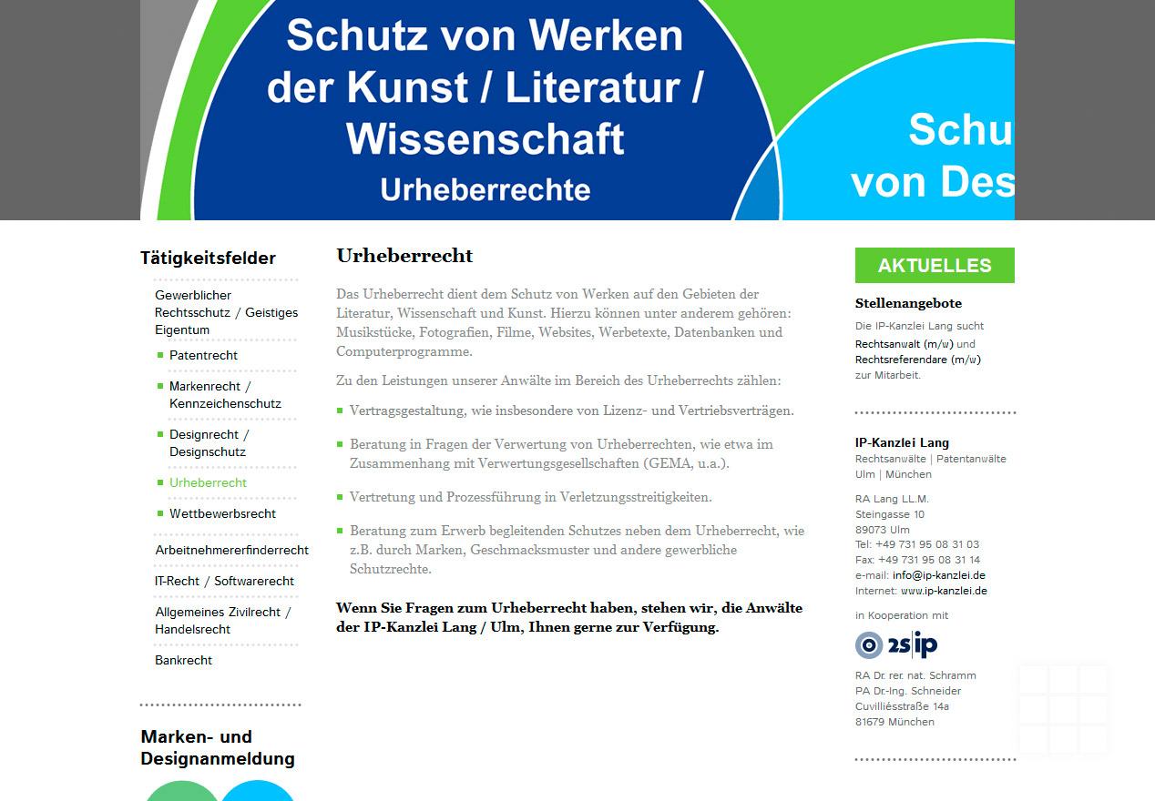 Website Design IP-Kanzlei Lang - Seite Urheberrecht