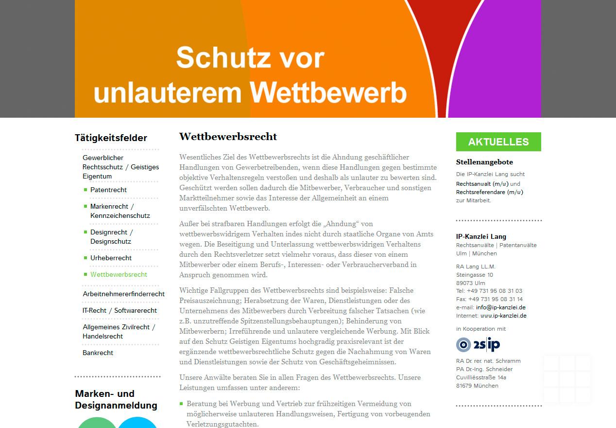 Website Design IP-Kanzlei Lang - Seite Wettbewerbsrecht