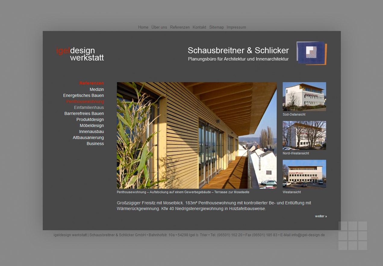Website für Architekturbüro – Referenzen I