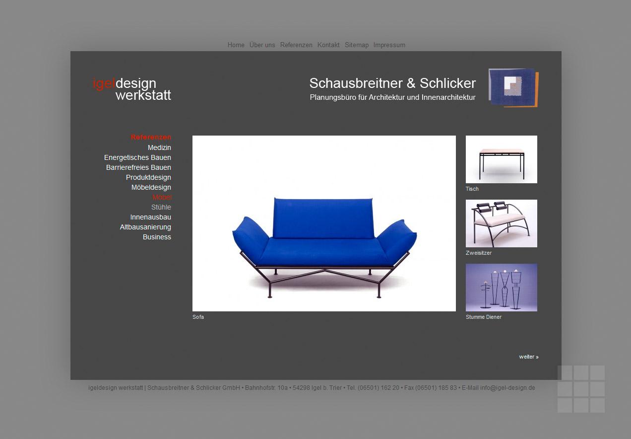 Website für Architekturbüro – Referenzen der eigenen Designwerkstatt